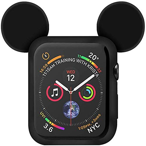 Lovely Cartoon Mouse Ears TPU Protective Cover for I Watch 40mm and 44mm, Anti-Scratch Soft Silicone Protector Bumper Frame Protective Case for iWatch Series 4 Girls Boys (Black, 44mm)