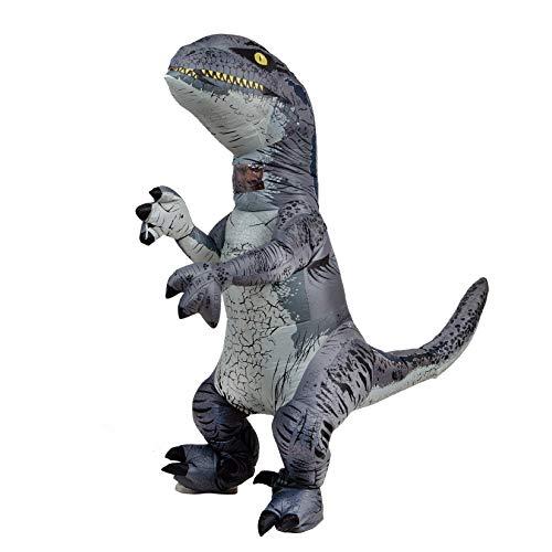 PARAYOYO Fantasy T rex Velociraptor Kostüm Cosplay für Halloween Inflatable Raptor Dinosaur Grey