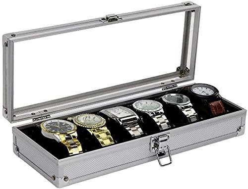 Caja para 6 relojes de aleación de aluminio transparente con ventana acrílica