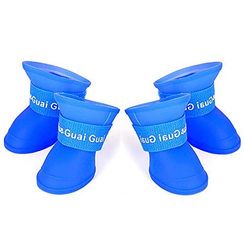Chuajunn 4 Stück Hundeschuhe wasserdichte Hund Regenstiefel Anti-Rutsch Silikon Hunde Stiefel Pfotenschutz, Einfach an-und Auszuziehen Hund Pfotenschutz Stiefel, Für Kleine/Mittlere Hunde