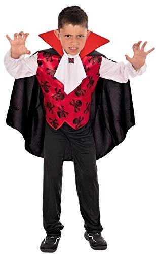 Magicoo Halloween GRAF Vampir Kostüm Kinder Jungen Gr. von 92 bis 140 - Vampirkostüm Kind rot weiß schwarz (122/128)