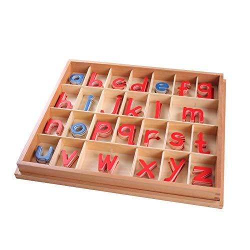 Montessori Holz bewegliches Alphabet mit Box, Sprachunterricht Materialien Frühpädagogisches Lernspielzeug für Kinder Rechtschreibung und Lernen
