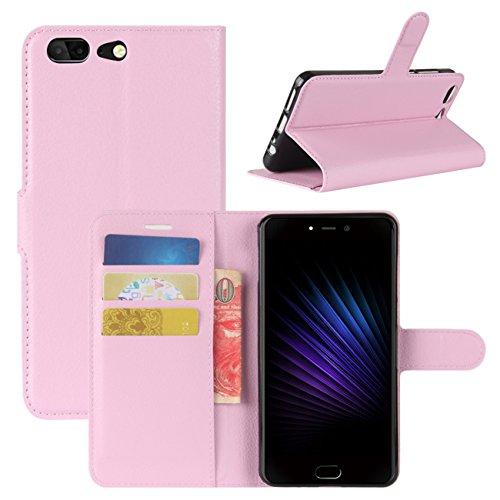 HualuBro Leagoo T5 Hülle, [All Aro& Schutz] Premium PU Leder Leather Wallet Handy Tasche Schutzhülle Hülle Flip Cover mit Karten Slot für Leagoo T5 Smartphone (Pink)