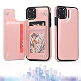 For iPhone 13 12 Pro MAX Mini,Wallet Case with Card Holder, Premium Faux Leather Kickstand Card Slots Case, Double Magnetic Clasp Shockproof Slim Back Flip Case (iPhone 12ProMax,6.7'',Rose Gold)