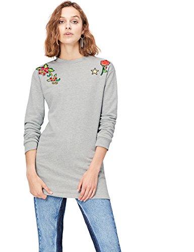 Marca Amazon - find. Vestido Sudadera con Flores Bordadas para Mujer