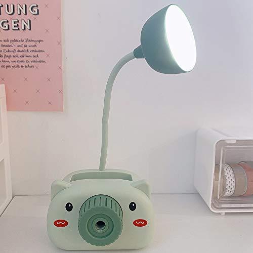 Estudio De Protección para Los Ojos Lámpara De Escritorio Pequeña Led Enchufe De Carga USB Dormitorio De Estudiantes Universitarios Estudio De Escritorio Lámpara Especial (Color : Green)