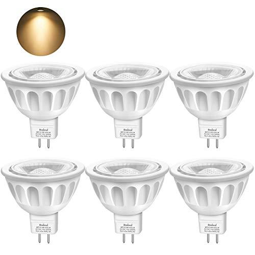 Boxlood Bombilla LED GU5.3 MR16 12V Halógenas de 50W, Blanco Cálido 3000K LED Spot Light, 40 Grados Ángulo 450 Lumen No Regulable, Pack de 6