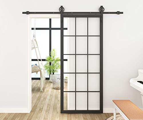 DIYHD TSD01 30 X 86.5inch Steel Framed Slab Interior Clear Tempered Glass Sliding Barn Door Panel, 3086.5inch, Black
