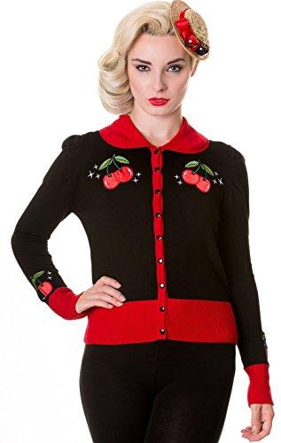 Banned Damen Strickjacke Vintage Red Cherry Kirschen Cardigan (S)
