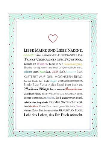 Hochzeitsgeschenk für 2 Frauen - Bild in DIN A4: Gastgeschenk für lesbisches Hochzeitspaar z.B. für Trauzeuge/Trauzeugin - optional mit Bilderrahmen - Geschenk zur Hochzeit