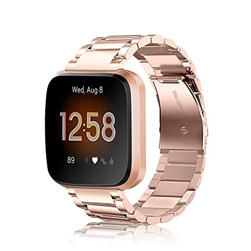 Fintie Armband kompatibel mit Fitbit Versa/Fitbit Versa 2 / Fitbit Versa Lite - 22mm Uhrenarmband Edelstahl Metall Ersatzband für Fitbit Versa Health & Fitness Smartwatch, Roségold