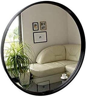 BD ART Modern Round Mirror 50 cm, Wall Mount Decorative Mirror 19.68'' with Wood Frame, Black