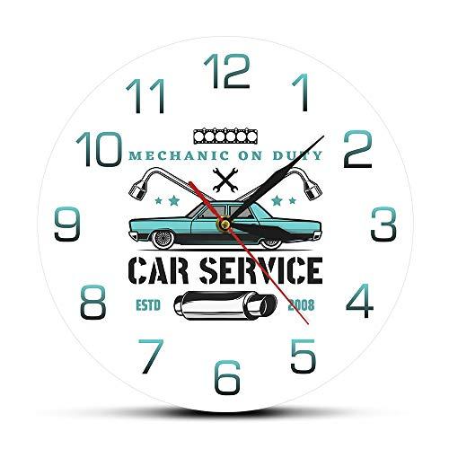 guijinpeng Orologio da parete Mecánico de Servicio Servicio de automóviles Garaje Reloj de Pared Personalizado Taller de reparación de automóviles Antiguos Publicidad Logo Auto Sign Reloj de Pared