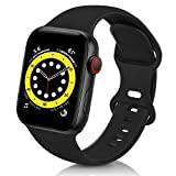 ZALAVER Bands Compatible with Apple Watch Band 38mm 40mm 42mm 44mm, Soft Silicone Sport Replacement Band Compatible with iWatch Series 6 5 4 3 2 1 Women Men Black 38mm/40mm M/L