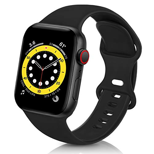 ZALAVER Bands Compatible with Apple Watch Band 38mm 40mm 42mm 44mm, Soft Silicone Sport Replacement Band Compatible with iWatch Series 6 5 4 3 2 1 Women Men Black 38mm/40mm S/M