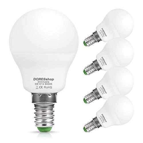 E14 Dimmbare LED Lampe, DOERSshop P45 Tropfenform Glühbirne, 5W (ersetzt 40W), Kaltes Weiß 6000K, 450LM, 240 ° Abstrahlwinkel, 4er-Pack
