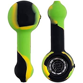 Silicone Pipe 3 Gates 4.2 Inch Portable Small Unbreakable Straw Black Green and Yellow