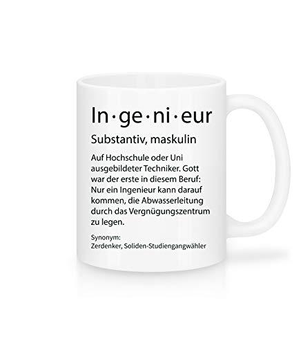 Shirtinator Beruf Definition Ingenieur Geschenk Tasse mit Spruch, Arbeit Kollegen Gag Job witzig Teetasse