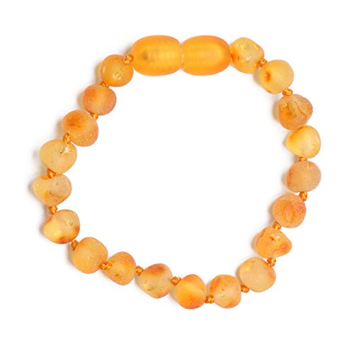 Genuine Baltic Amber Bracelet/Anklet - Raw not Polished Beads - Honey Color - Knotted Between Beads - Sizes from 11 cm to 16 cm (15)