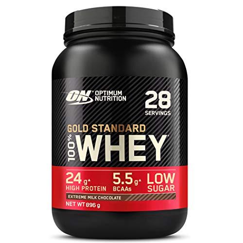 Optimum Nutrition ON Gold Standard Whey Protein Pulver, Eiweißpulver Muskelaufbau mit Glutamin und Aminosäuren, natürlich enthaltene BCAA, Extreme Milk Chocolate, 28 Portionen, 896g