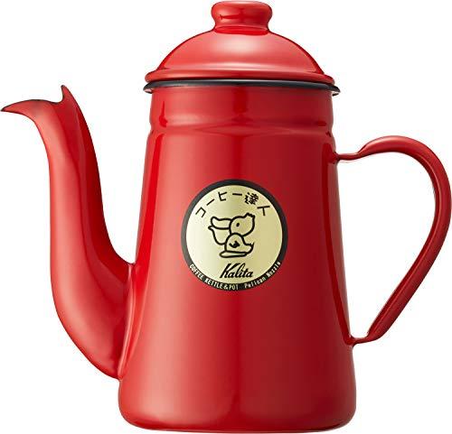 カリタ コーヒーポット ホーロー製 コーヒ-達人 ペリカン 1L レッド #52123