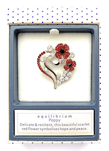 Equilibrium Red Poppy Brooch Pin Badge Sparkly Heart Shape