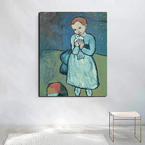 Picasso Leinwand Poster Kunstdruckt Kinder Bild Vintage Wand Bilder skandinavische weiße Taube Bild für Wohnzimmer Kinderzimmer Dekor 40x60cm ohne Rahmen