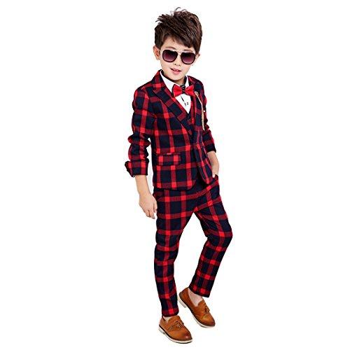 Gele Boy 4 Pieces Plaid Formal Suit Set,Vest+Pants+Blazer+Bow Tie (4T, Red)