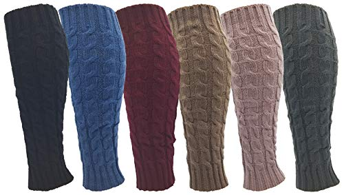 Leg Warmers for Women, 6 Pairs Knee High Cable Knit Warm Thermal Acrylic Winter...
