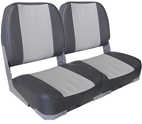Leader Accessories A Pair of New Low Back Folding Boat Seats(2 Seats) (B-Gray/Charcoal)