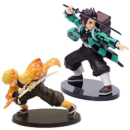 2 Piezas Demon Slayer Figura Kamado Tanjiro Agatsuma Zenitsu PVC Figuras De Acción Figura En Caja Modelo Muñecas Juguetes Regalos para Niños 20Cm