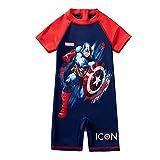 Xyh723 Niños Natación Capitán Capitán América Traje de baño One Piece Swim Shorts Set Verano Playa Surfsuit Sol rápido Safe TOU Completo Traje de baño,Blue-S/100~110CM
