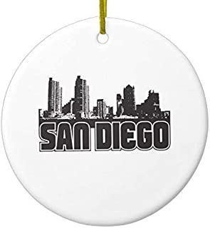 Dozili Christmas Decoration San Diego Skyline 3 inch Ceramic Ornaments Merry