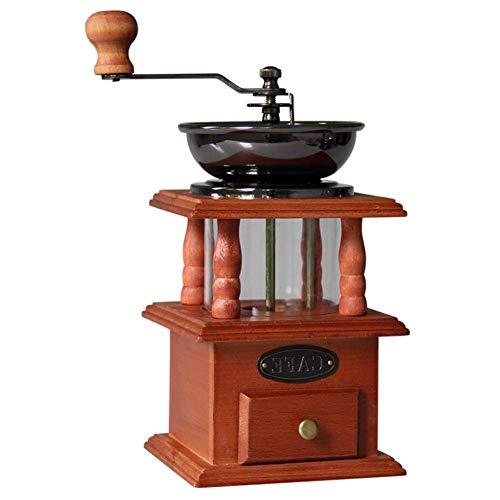 LYYJIAJU Handmatige Koffie Grinder,Houten Basis met Lade Koffie Bean Molen Vintage Antieke Stijl Hand Crank, Perfect voor Thuis, Kantoor, Reizen