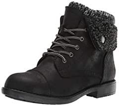 """Cushioned insole Sweater ankle trim Cozy Faux Shearling Cuff Heel Height: 1"""" Shaft Height: 5.5"""""""