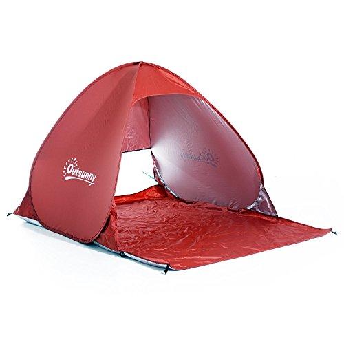 Outsunny Strandmuschel Strandzelt Wurfzelt Campingzelt Automatisch Pop Up Zelt, Polyester, Metall, Rot, 150 x 200 x 115 cm