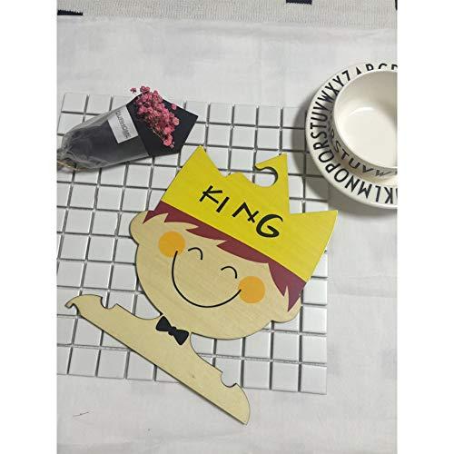elegantstunning Niedlichen Cartoon Kinder Holz Kleiderbügel für Kinder Kleidung Kinderzimmer Dekoration Prinz 25 * 20,5 * 0,5 cm