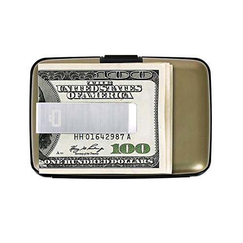Ögon Smart Wallets - Stockholm Money Clip Card Holder - RFID Protection : protcts Your Cards Against Fraud - Up to 10 Cards + reveits + Notes - Anodised Aluminium (Dark Grey)