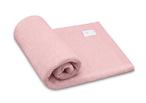 Elimeli Babydecke Wolldecke Kuscheldecke 100% Merino Schurwolle perfekt für Babys in Geschenkverpackungen (Pink)