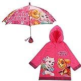 Nickelodeon Little Girls Paw Patrol Character Slicker and Umbrella Rainwear Set, 2-7, Dark Pink, SMALL, AGE 2-3