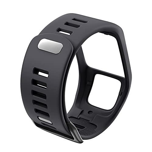 ZXC Silicona Reemplazo de Pulsera Reloj Correa Ajuste para Tomtom Runner 2 3 Spark 3 GPS Sport Watch Fit para Tomtom 2 3 Serie Soft Smart Band (Band Color : Dark Grey)