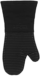 All-Clad Textiles Heavyweight 100-Percent Cotton Twill and Silicone Oven Mitt, Black by All Clad Textiles