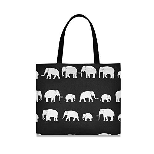 Bolsa de lona para mujer de elefantes blancos, reutilizables, con bolsillo interior, para ir al gimnasio, playa, viajes al aire libre