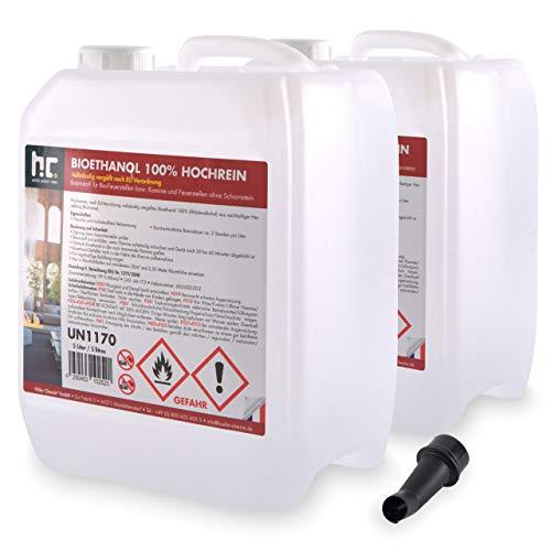 Höfer Chemie 10 L Bioethanol 99,9% (2 x 5 L) Premium für Ethanol Kamin, Ethanol Feuerstelle, Ethanol Tischfeuer und Bioethanol Kamin