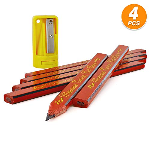 Ram Pro Flat Wood Carpenter Pencil & Sharpener Set Woodwork Pencil Sharpening Tool Narrow Shaver Cutter Comes in Blue, Yellow and Red Color (3 Per Pack)