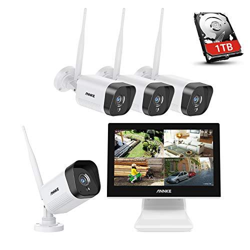 ANNKE WL400 Wifi 4CH 5MP NVR Kit di Sorveglianza con Monitor LCD da 10,1   Sistema di Videosorveglianza 1080P Plug e Play Salvaschermo Automatico Visione Notturna Accesso Remoto 1TB HDD