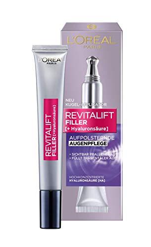 L'Oréal Paris Revitalift Filler Hyaluron Augencreme, Anti-Aging Augenpflege mit Hyaluronsäure, gegen Augenringe und Falten, intensive Feuchtigkeit, 2x 15ml