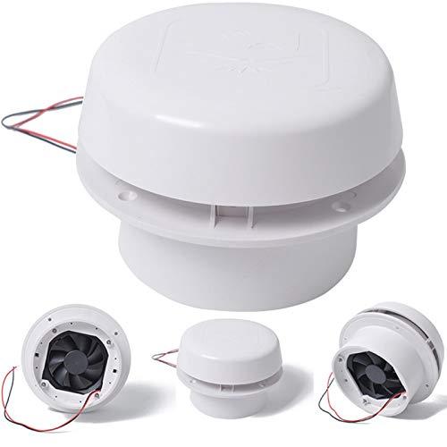 Faderr Rejilla de ventilación blanca de círculo 60 CFM de ventilación 12 V RV para barcos marinos, yates, RV, remolque, autocaravana