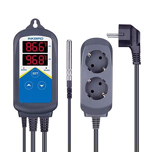 Inkbird 220V ITC-306T Heizung Temperatur Regler, LCD Display Thermostat mit Steckdose, Dualzeitzykluseinstellung für 24 Stunden