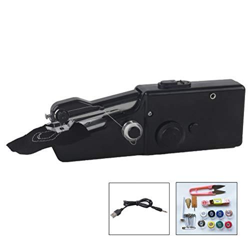 Mini máquina de coser portátil eléctrica, de tela para manualidades, costura, costura, máquina de coser de mano, máquina de coser de un solo hilo para viajes en casa, negro